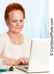 Senior browsing internet - senior woman sitting with laptop...