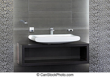 Gray toilet - Bathroom sink and interior in minimalist style
