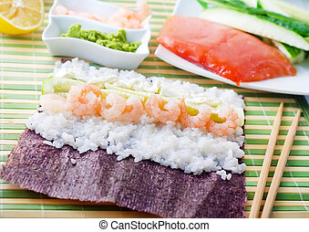 Fresh ingredients for sushi, rice and shrimps
