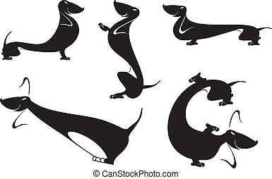 dachshund silhouettes - Vector silhouettes set of the...