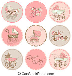 Baby Girl Shower Party Set - for your design and scrapbook in vector
