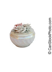 porcelain casket - The porcelain casket, decorated rose and...