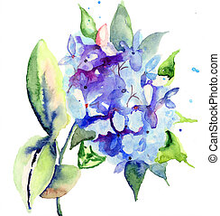Beautiful blue flowers, watercolor illustration