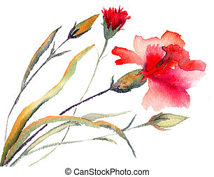 Red carnations blooming - Red carnations blooming,...