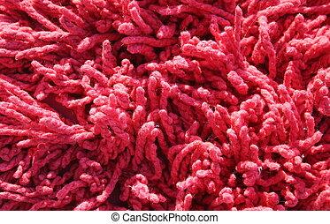 red shag carpet - a close up od red shag carpet