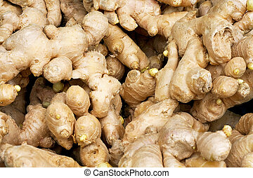 Ginger - Bunch of fresh ginger on the market