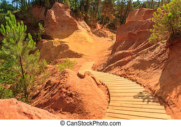Red Cliffs in Roussillon (Les Ocres), Provence, France - Red...