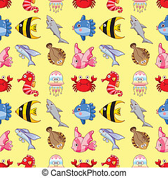 seamless fish pattern,cartoon vector illustration