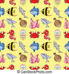 seamless fish pattern,cartoon vector illustration