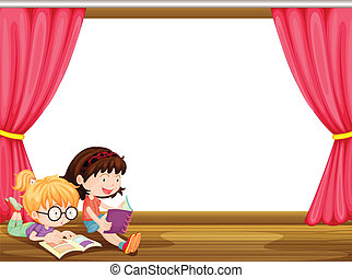 Girls reading book - Illustration of girls reading book in a...