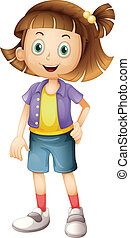 A girl - Illustration of a girl with brown hair on a white...