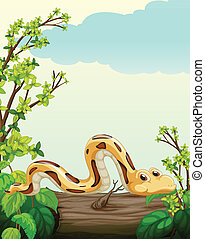 A snake on tree - Illustration of a snake on tree in green...