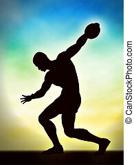 Discus man - Editable vector silhouette of a man about to...