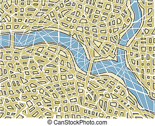 Fractured map - Editable vector illustration of a generic...