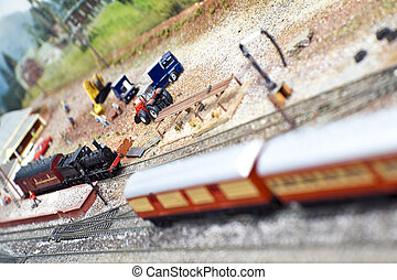 Model Trains - Model train sets at a station