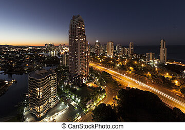 Surfers Paradise At Night - Busy Surfers Paradise at night