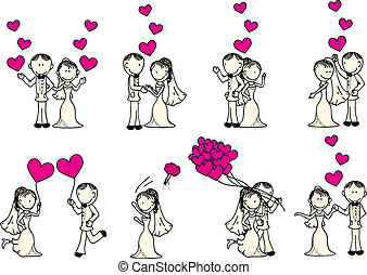 wedding couple - cute wedding couple with pink hearts