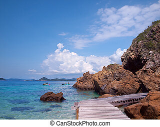 Beautiful seaside - Boardwalk in Ko Kham island, Sattahip,...