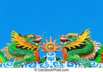 ikergyermek, kínai, szobor, sárkány
