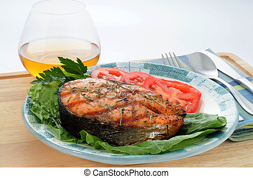 Grilled Salmon - Grilled salmon steak served with fresh...