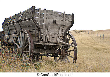 Antique Wooden Wagon - Antique wooden wagon on the prairie