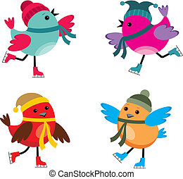 Birds on ice skates - Image of cartoon birds that are...