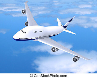 Flying jet airplane - Flying jet airplane