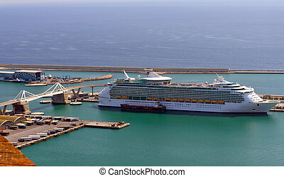 cruise ship navigating in Barcelona port,Spain