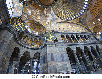 Interior of the Hagia Sophia in Istanbul - Fish-eye view of...