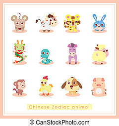 12 cartoon Chinese Zodiac animal - 12 Chinese Zodiac animal...