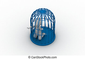 businessman in a 3d bird cage