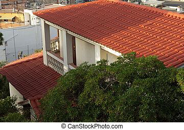 maison, rouges, toiture