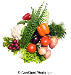 many vegetables - Different fresh tasty vegetables isolated...