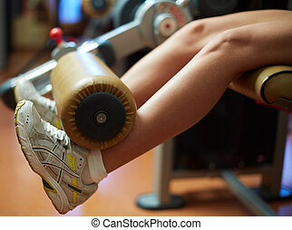 Exercise for legs - Close-up of feminine legs during...