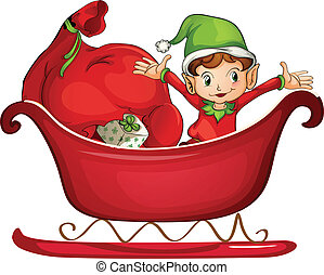 A smiling boy in a sledge - Illustration of a smiling boy in...