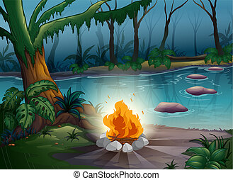 A camp fire - illustration of a camp fire in a beautiful...