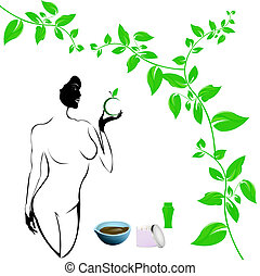 Best body care. Healthy plants female medicine cosmetic and...