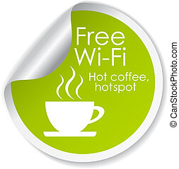 Free wi-fi vector label isolated on white