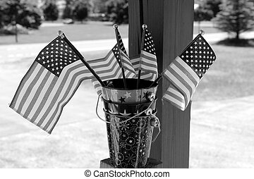 American flags in decorated buckets - Pretty little american...