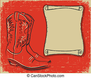 Cowboy boots and scroll paper background for text