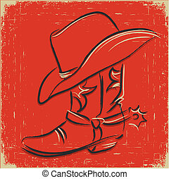 Cowboy boot and western hat .Sketch illustration foe design...