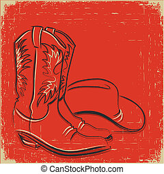 Cowboy boots and western hat .Sketch illustration on red -...