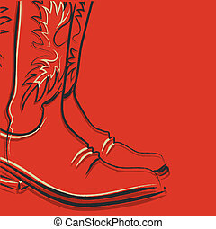 Cowboy boots on red background for design