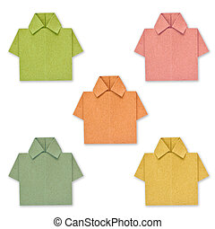 recycled paper to create a color shirt.