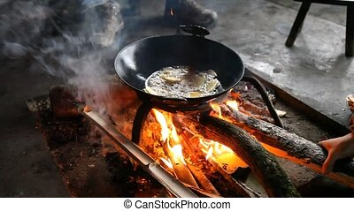 Cooking fried potato in a hut - Cooking in authentic hut in...