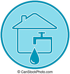 icon with drop, faucet and house - blue icon with drop,...