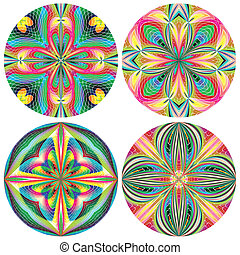 Set of stain glass rosettes - Vector artwork with historic...