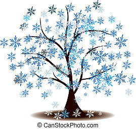 Winter's tree Covered with snow