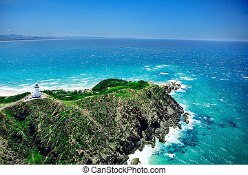 lighthouse overlooking ocean - Aeriel view of lighthouse...