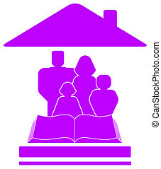 icon with family, book and house - isolated violet icon with...